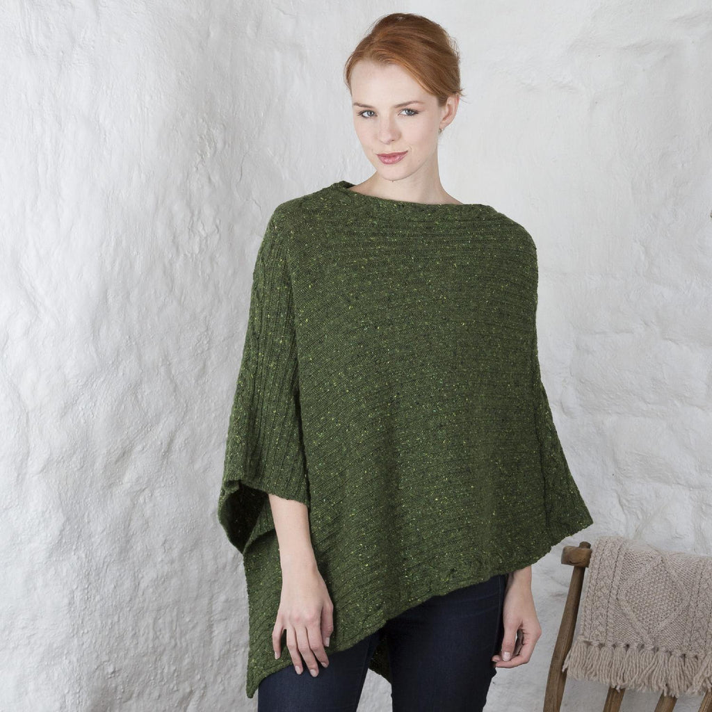 Women's Merino Wool Kilcar Ribbed Cable Poncho