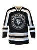 This is the front image of the Guinness Black Hockey Jersey, with long sleeves, and exclusive to realirish.com