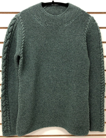 Womens Scoop V-Neck Cable Sweater