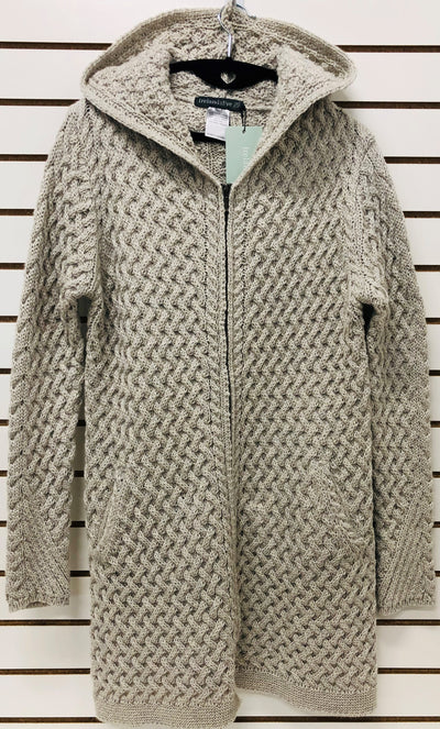 Womens 3/4 Length Full Zip Wool Cardigan