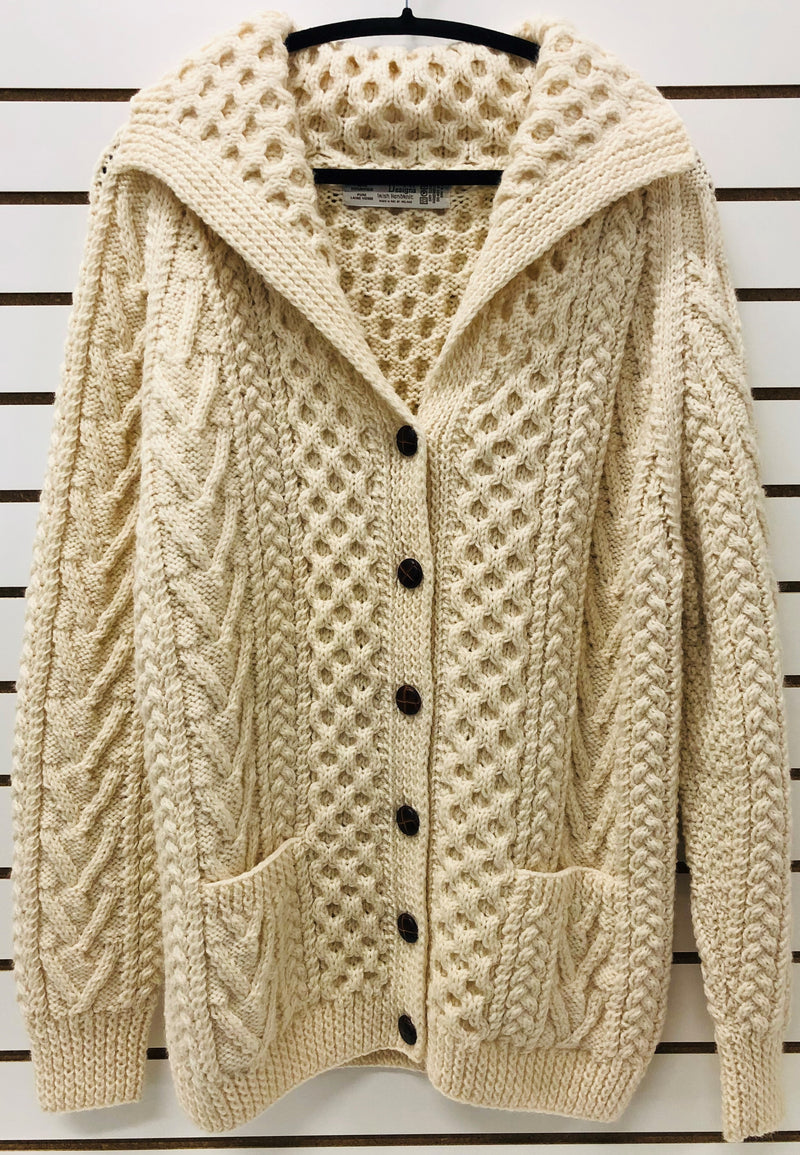 Womens Hand Knit 6 Button Shawl Collar Irish Wool Cardigan - Natural White