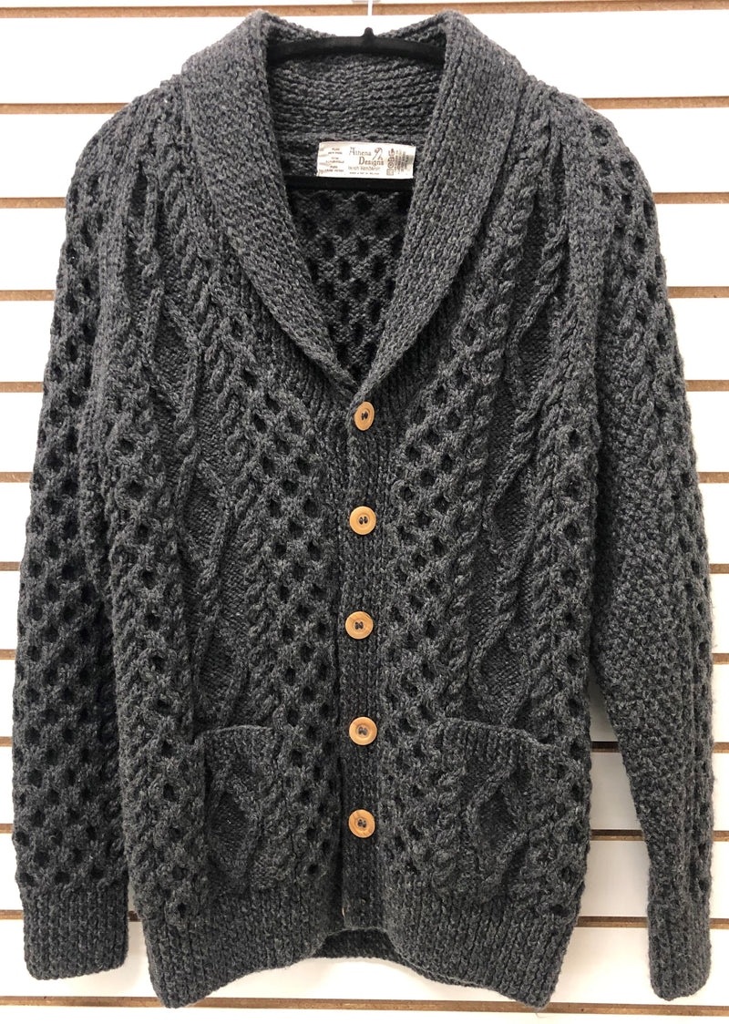 Mens Irish Hand Knit Shawl Neck Cardigan - Charcoal