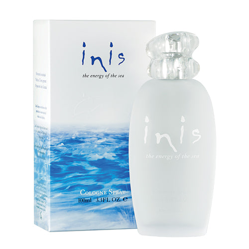 Inis Perfume 100ml bottle outside of it's original packaging with original box sitting behind it
