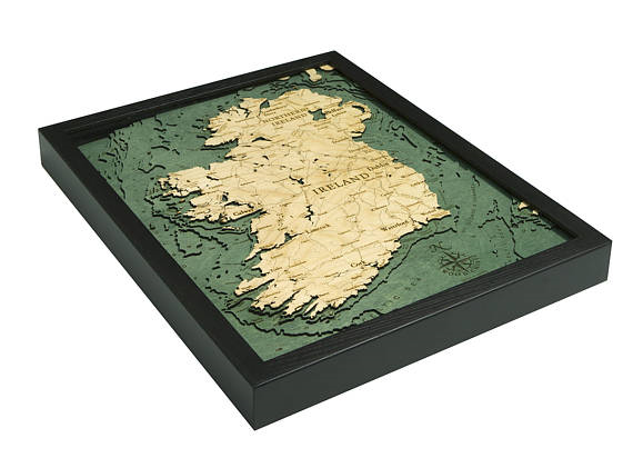 3 dimensional Ireland bathymetric depth chart front view Shows ocean depths around the coast of Ireland.