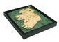 Flat view of Ireland 3 dimensional bathymetric laser cut depth chart.