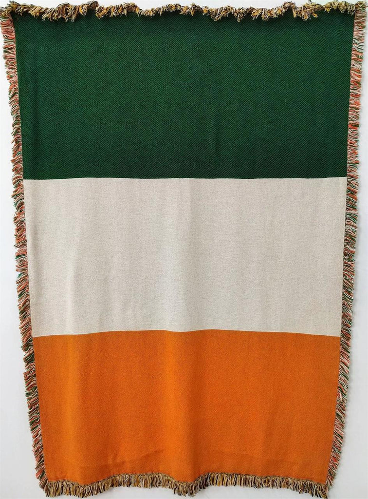 Irish Flag Woven Throw Blanket with Fringes