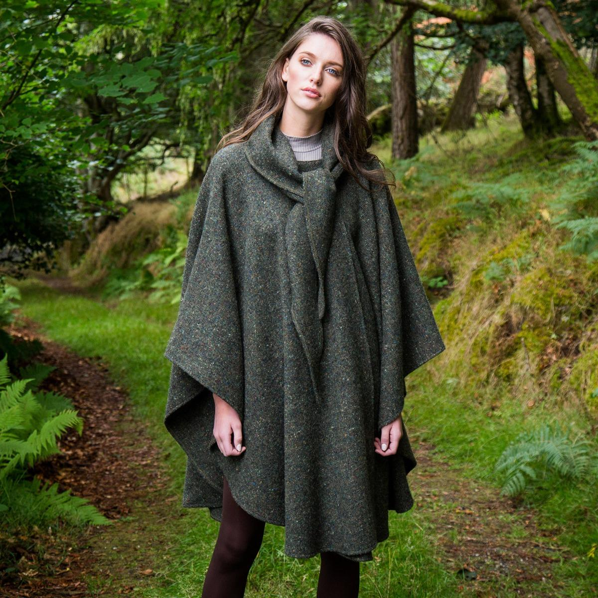 Donegal Tweed Cape with Convertible Hood