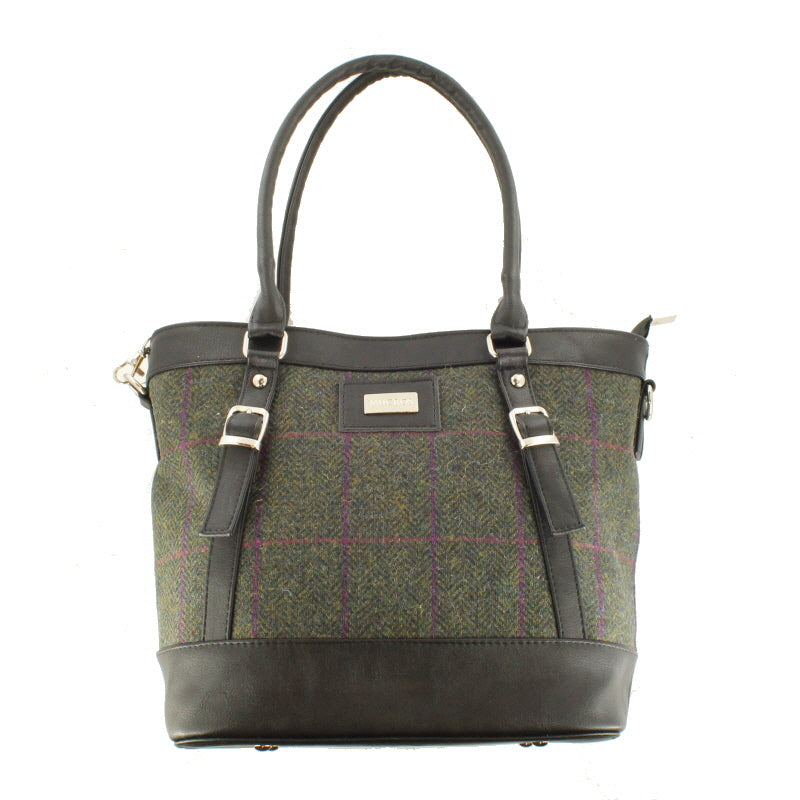 Ladies 'Kelly' Plaid Shoulder Bag/Handbag - Green Plaid