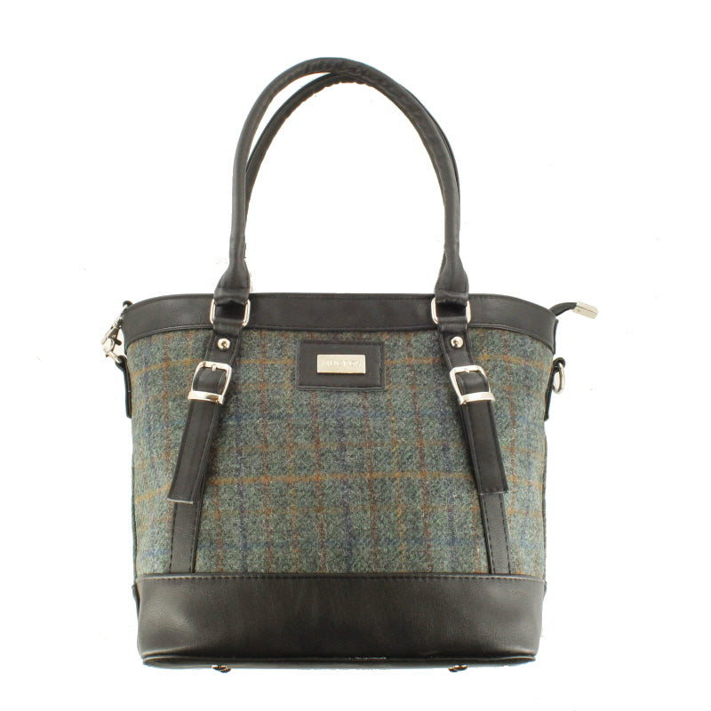 Ladies 'Kelly' Plaid Shoulder Bag/Handbag - Green Plaid with Brown Stripe