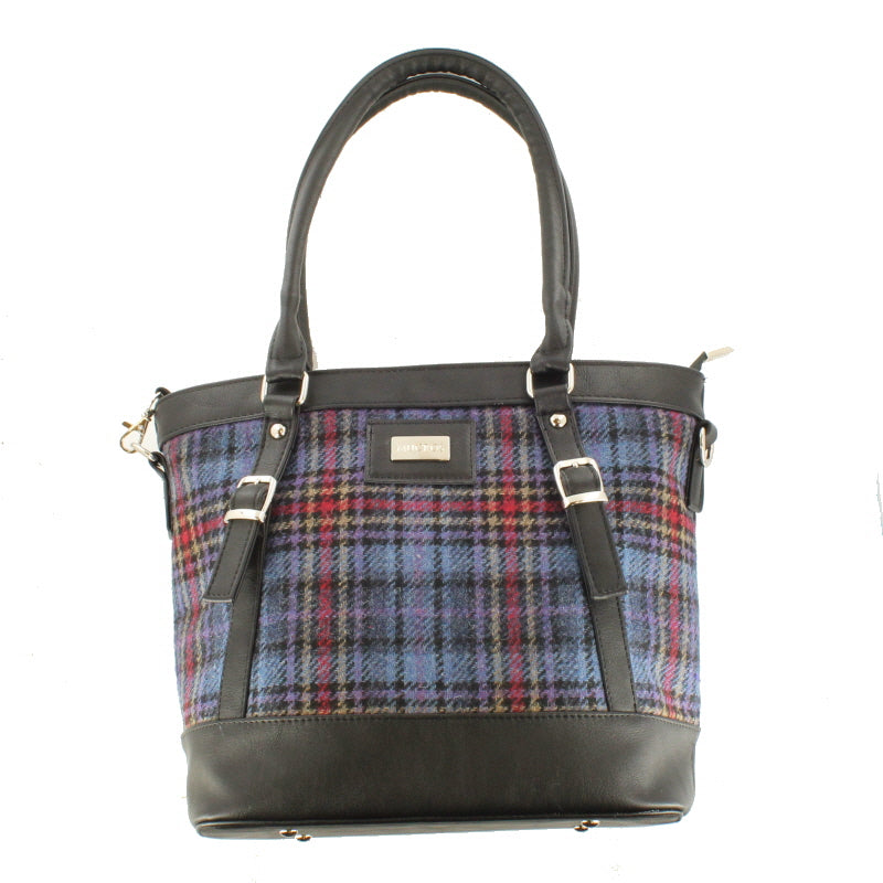 Ladies 'Kelly' Plaid Shoulder Bag/Handbag - Blue Plaid with Red Stripe
