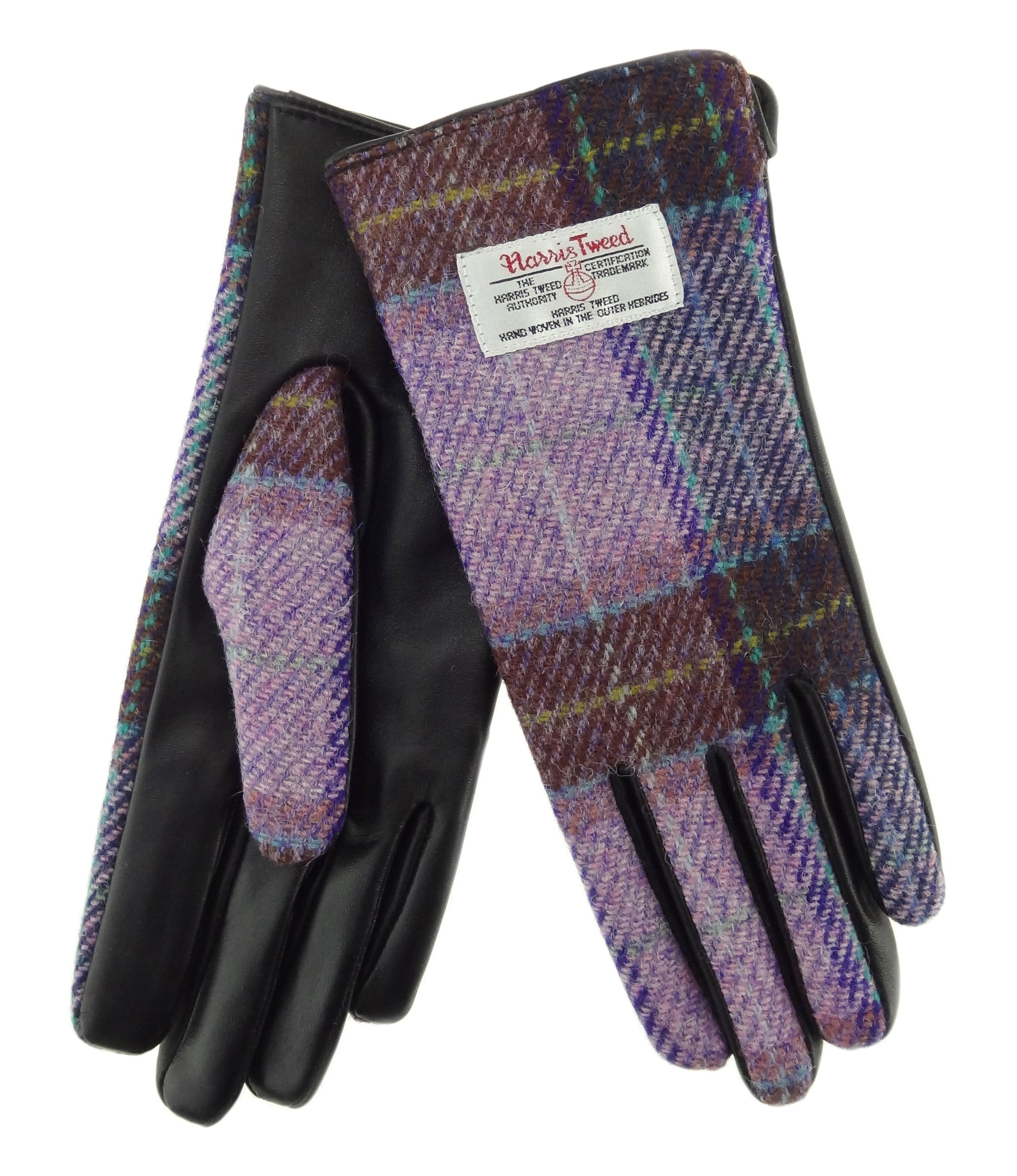 Womens Harris Tweed Gloves - Black Leather
