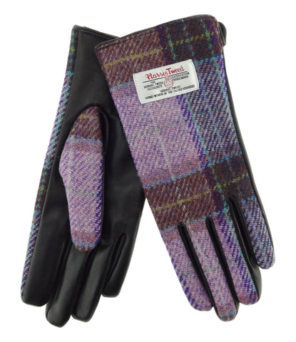Womens Harris Tweed Gloves - With Strap - Black Leather LB3000