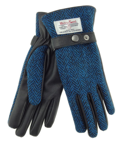 Womens Harris Tweed and Superior Brown Leather Gloves - Boxed - LB3011