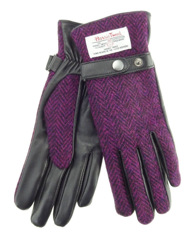 Womens Harris Tweed Gloves with Strap - Black Leather