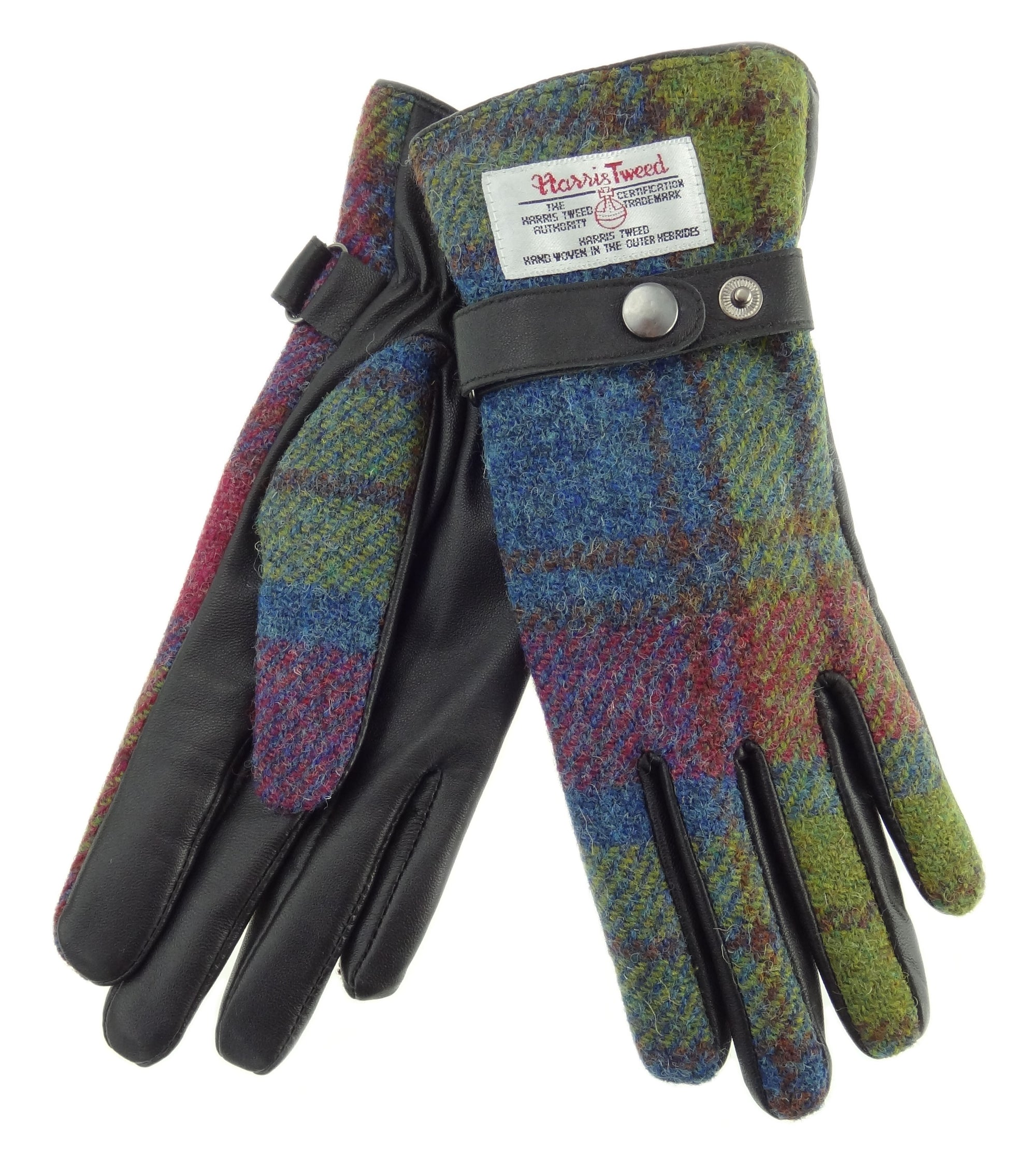 Womens Harris Tweed Gloves - With Strap - Brown Leather LB3001