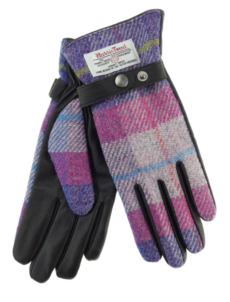 Womens Harris Tweed Gloves with Strap - Brown Leather