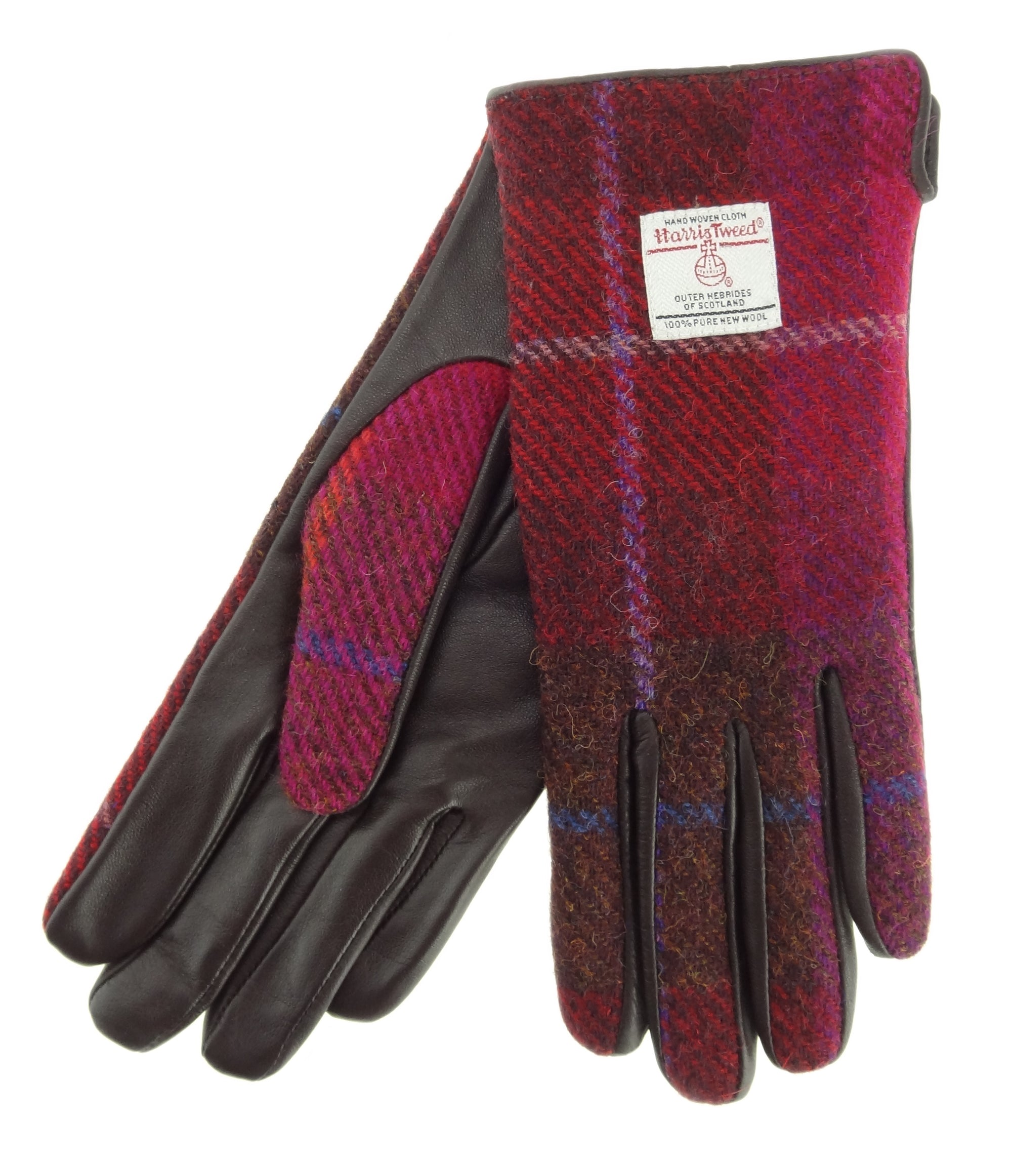 Womens Harris Tweed Gloves - Brown Leather LB3001