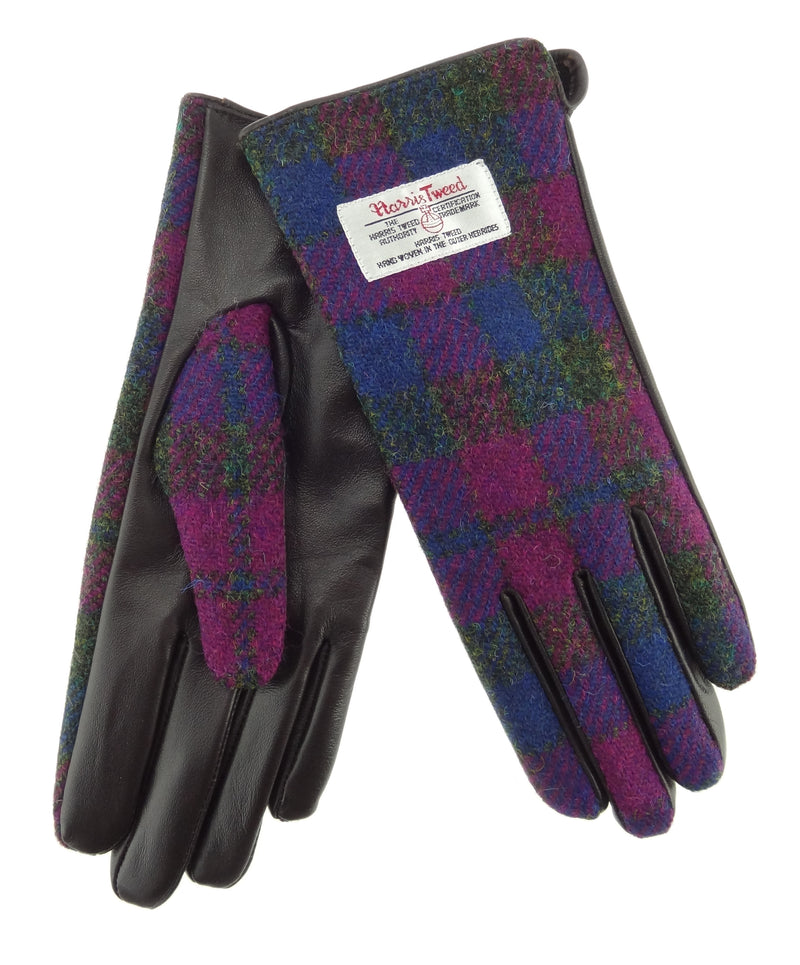 Womens Harris Tweed Gloves - Brown Leather