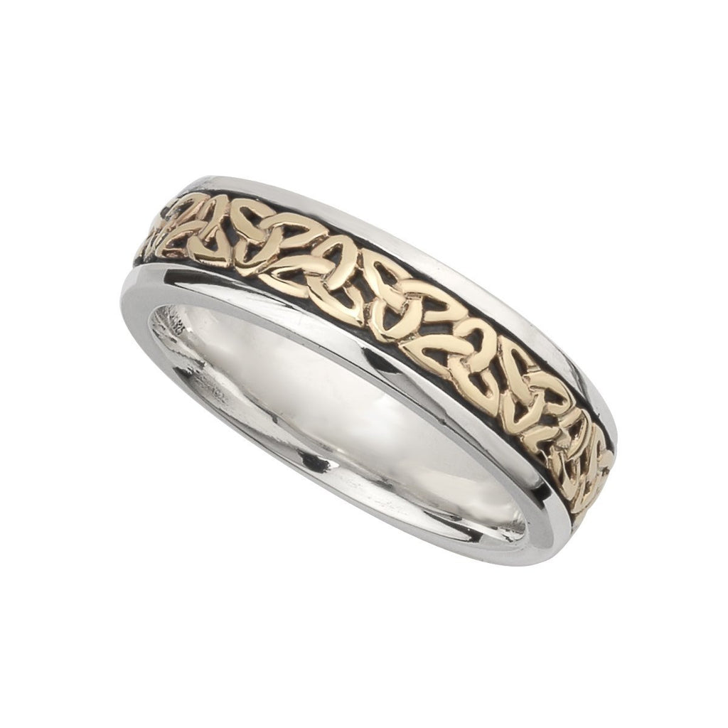 S21009 Silver and 10K Gold Ladies Trinity Knot Band