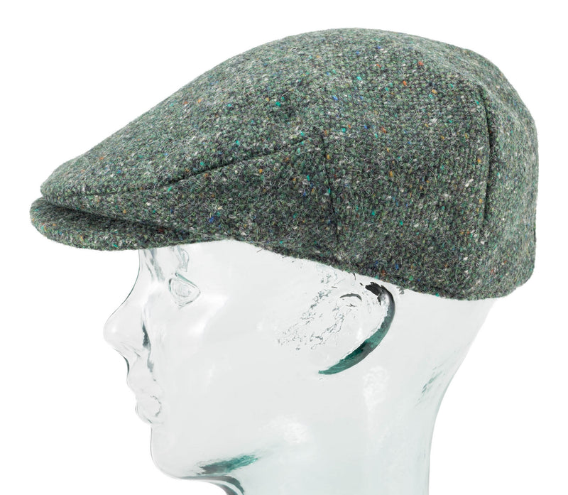 Green Donegal Tweed Mens Irish Flat Cap by Hanna Hats side view