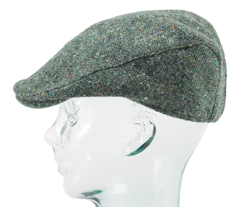 Green Donegal Tweed Mans Irish Cap by Hanna Hats offset side view