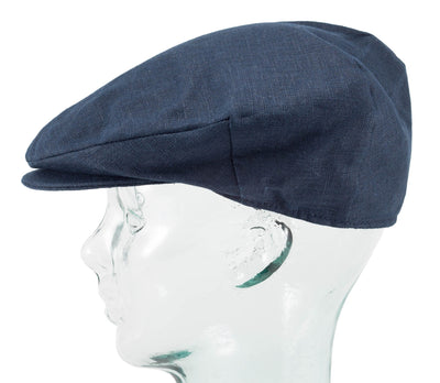 Hanna Hats Navy Linen Vintage Cap side view