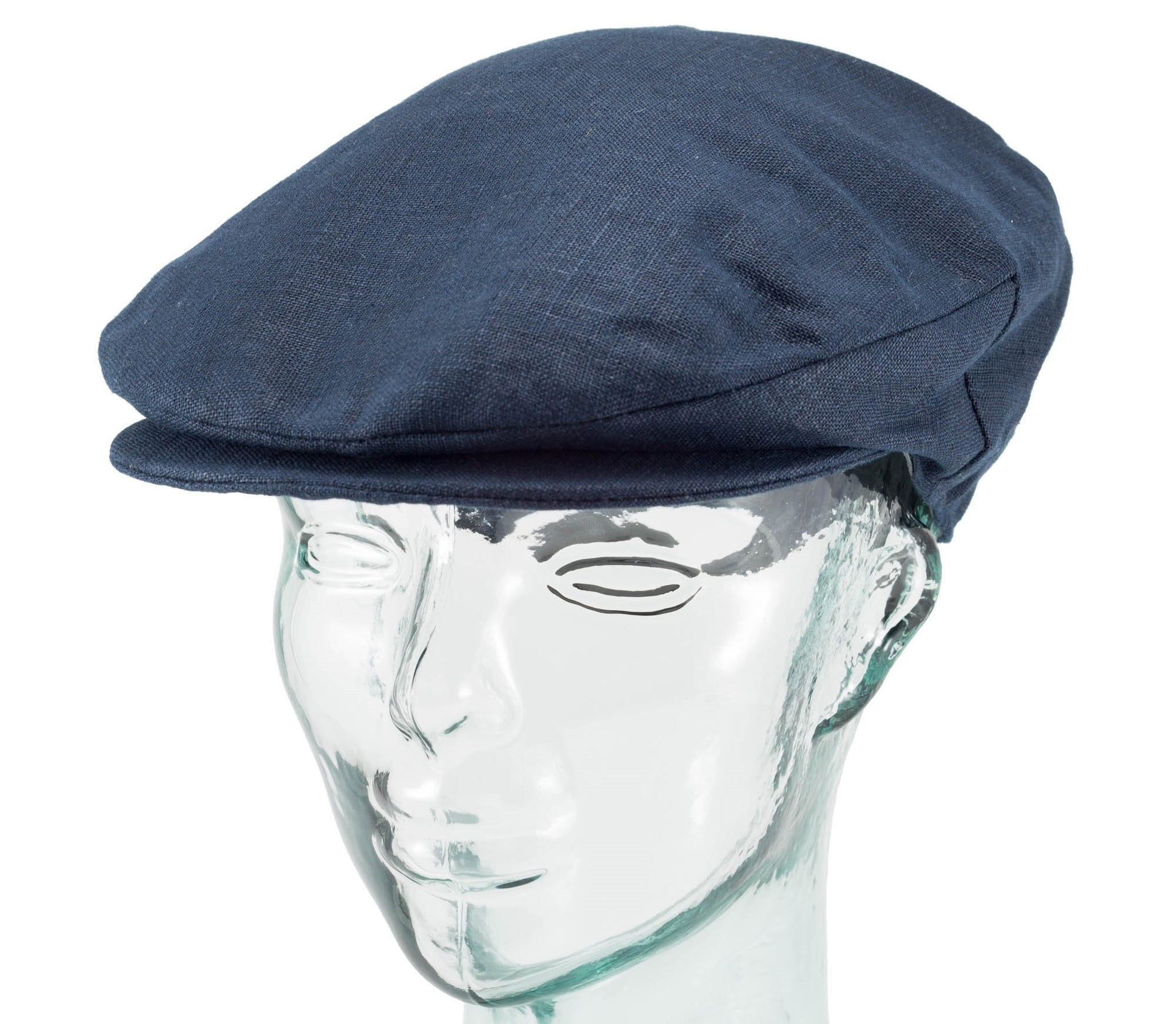 Hanna Hats Navy Linen Vintage Cap, offset side view
