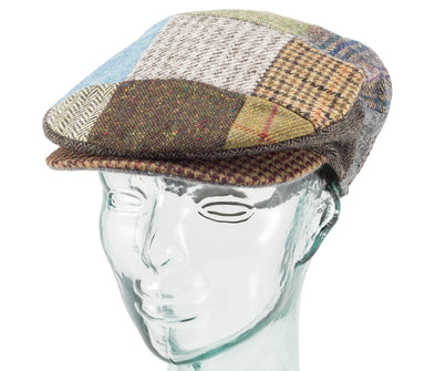 Mens Patchwork Tweed Cap Vintage Style by Hanna Hats offset side view