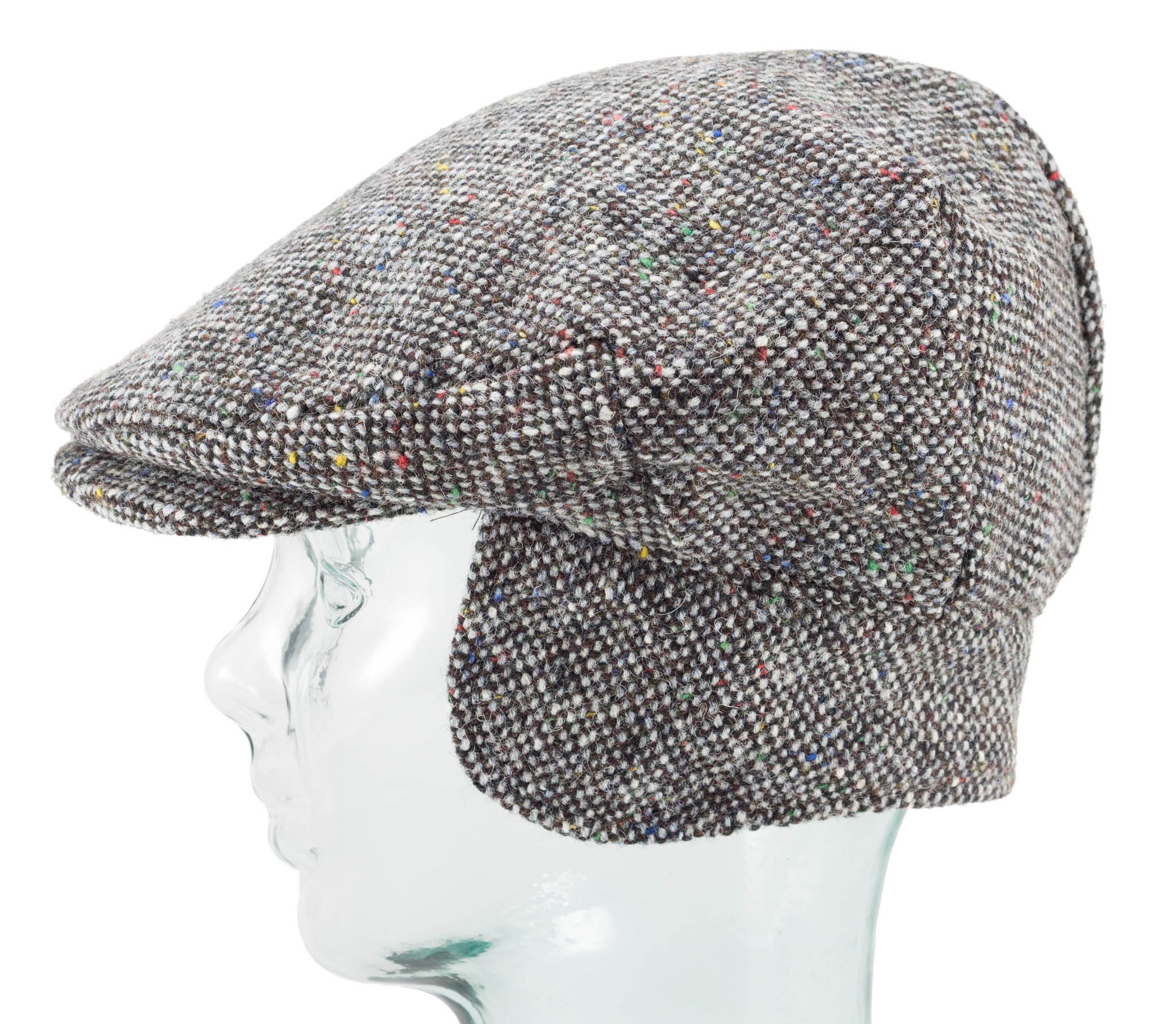 Vintage Style Cap with Earflaps - Grey Tweed