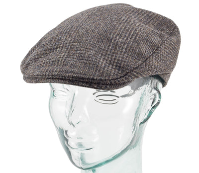 Brown Plaid Mens Irish Donegal Tweed Hanna Hat offset side view