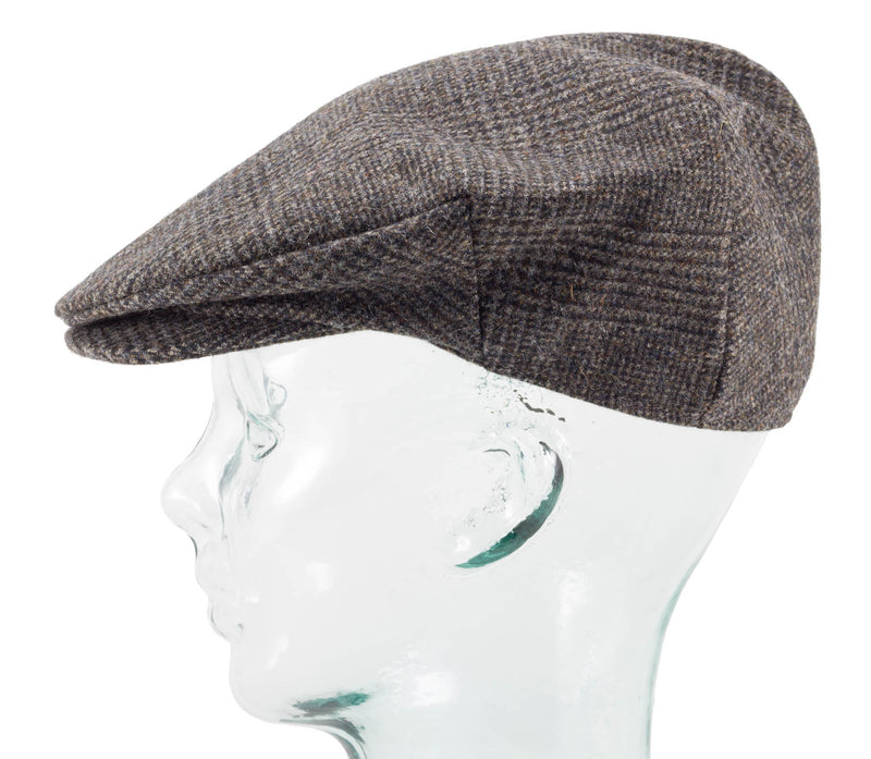 Mens Limited Edition Donegal Tweed Irish Flat Cap made by Hanna Hats, side view
