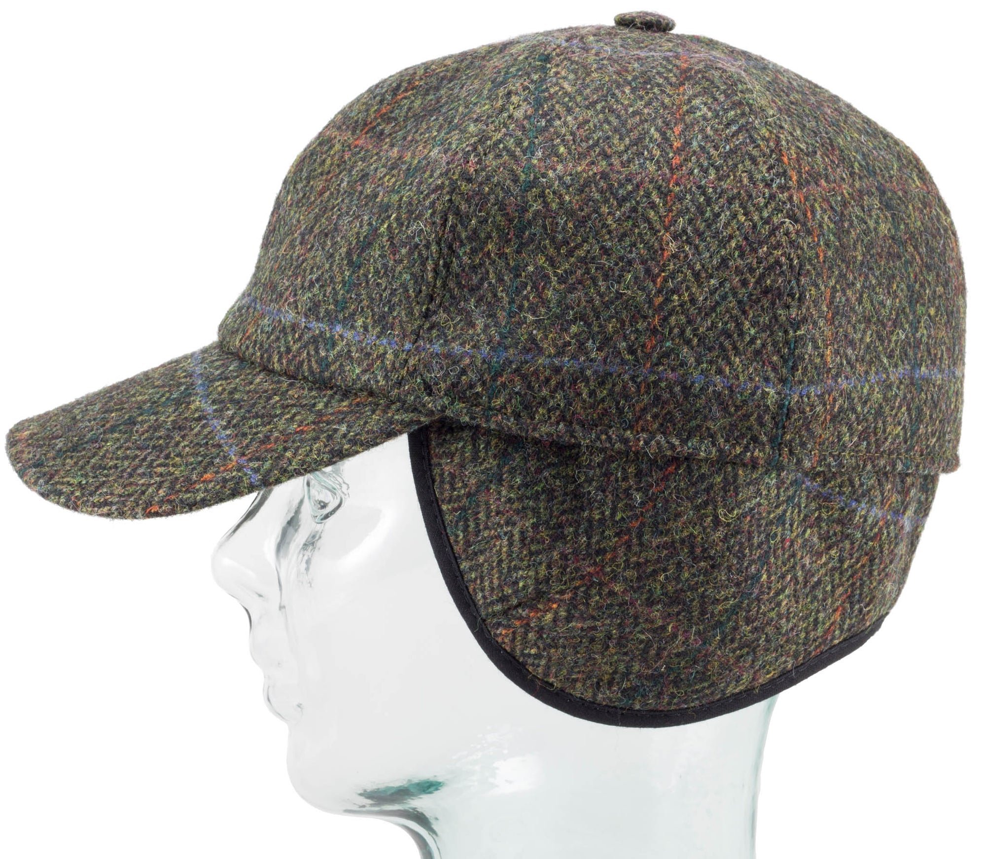 Tweed Baseball Style Cap with Earflaps - Dark Green Plaid