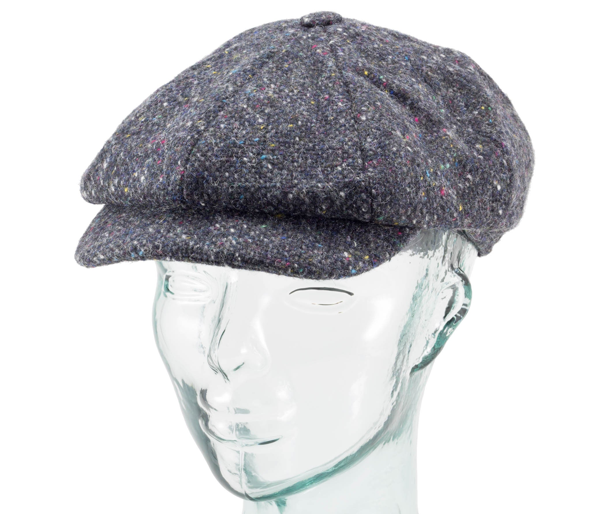 Charcoal newsboy cap from realirish.com and made by hanna hats, side view.