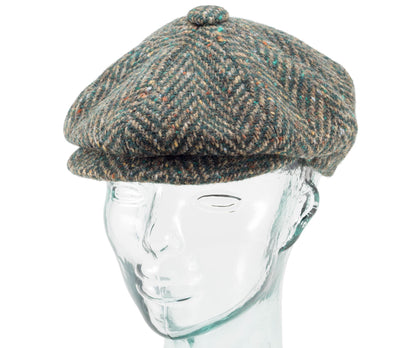 Herringbone Tweed - Fitted Newsboy Cap by Jonathan Richard