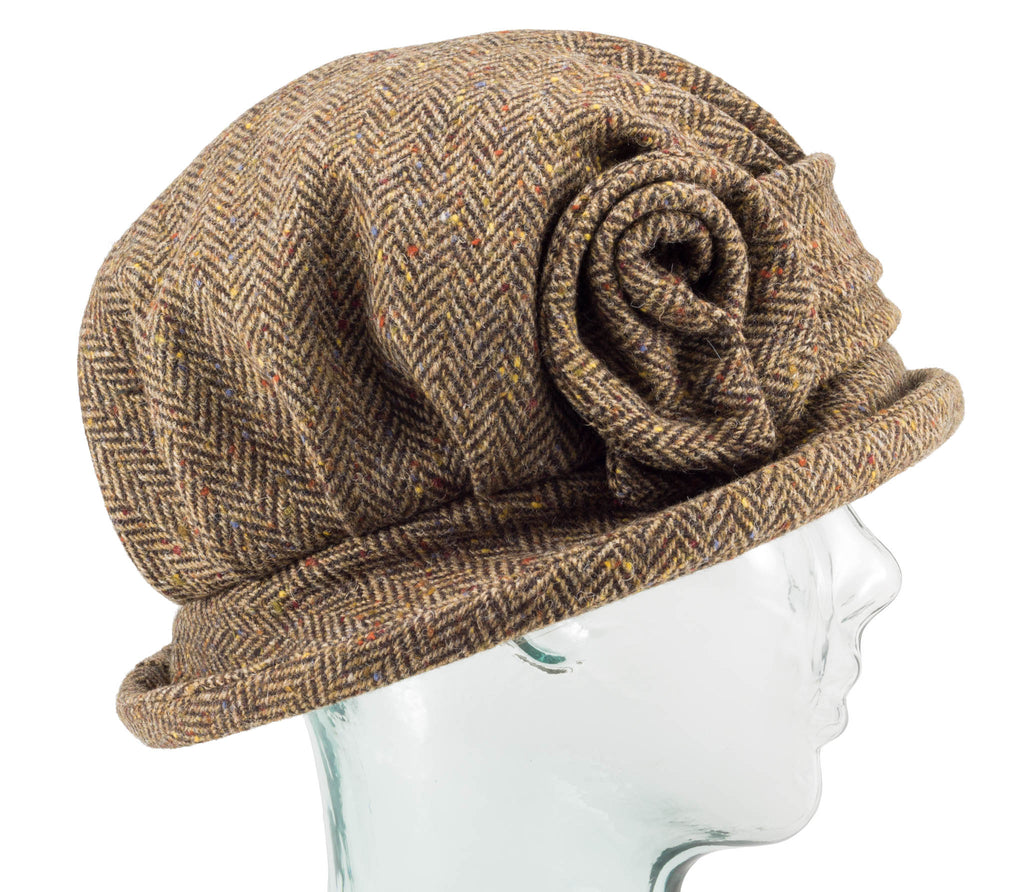 Light Brown Herringbone Downton Abbey Style Ladies Hat