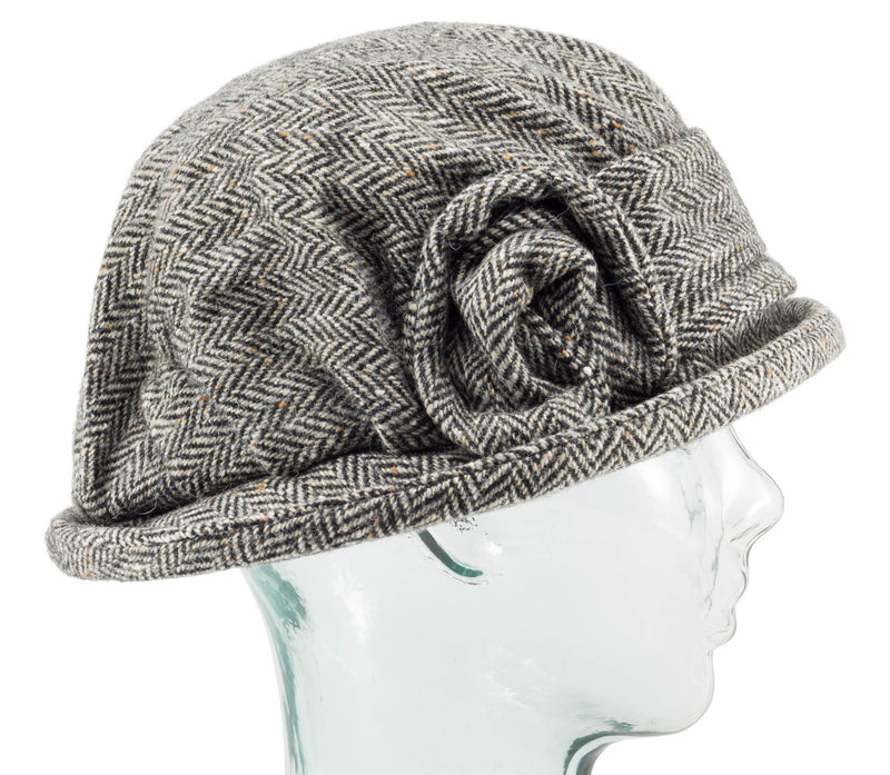 Grey Herringbone Downton Abbey Style Ladies Hat