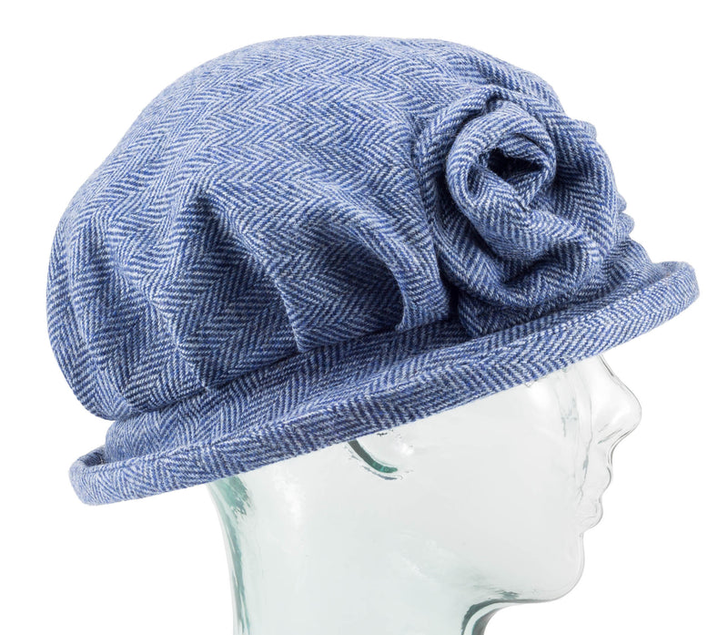 Sky Blue Herringbone Downton Abbey Style Ladies Hat