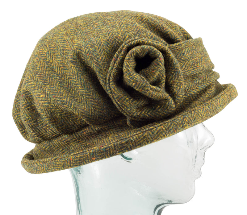 Olive Herringbone Downton Abbey Style Ladies Hat