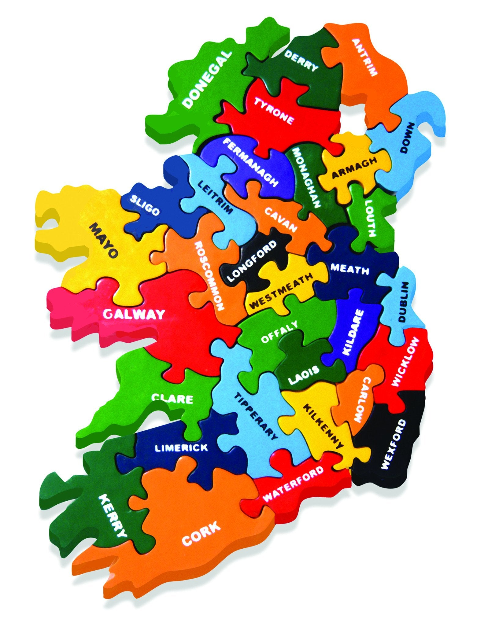 Map of Ireland Painted Wooden Jigsaw Puzzle