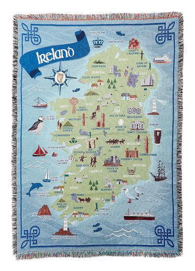 Map of Ireland Throw Blanket
