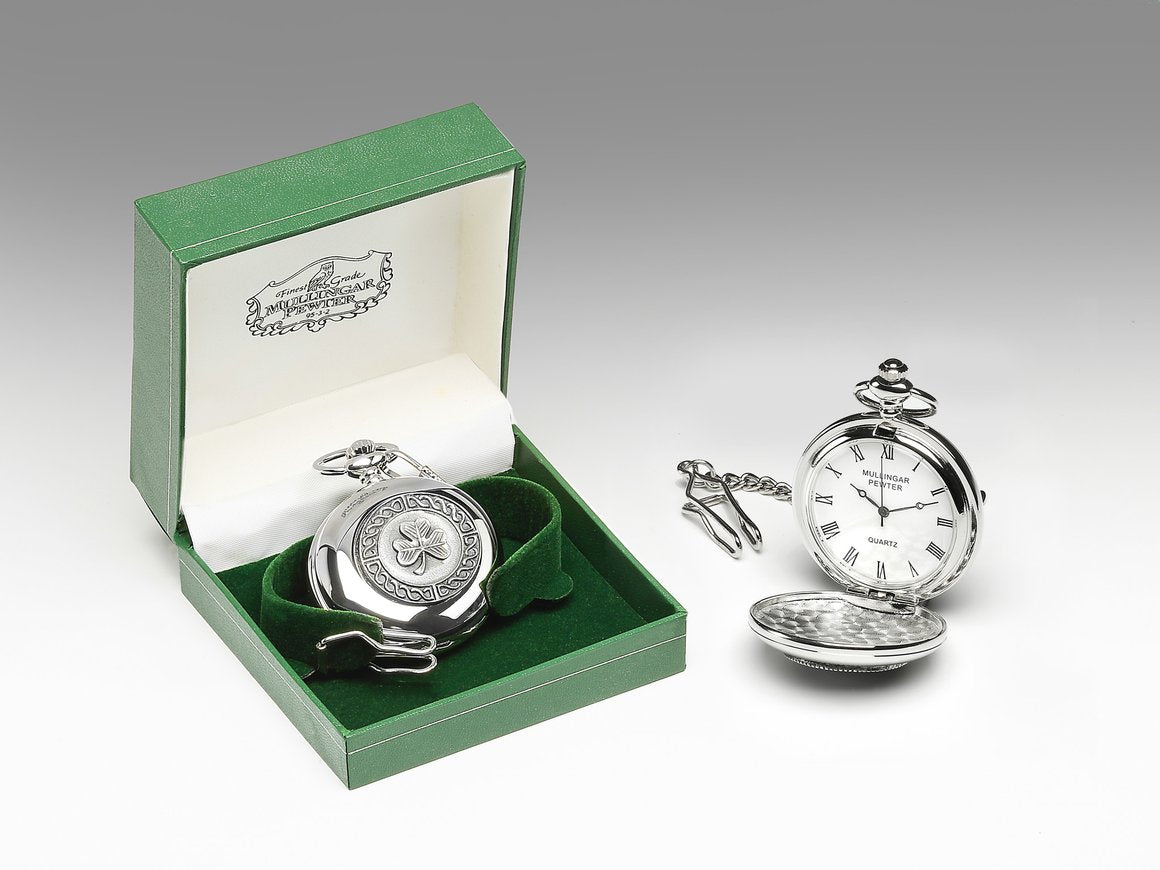 Pocket Watch with Shamrock Design by Mullingar Pewter