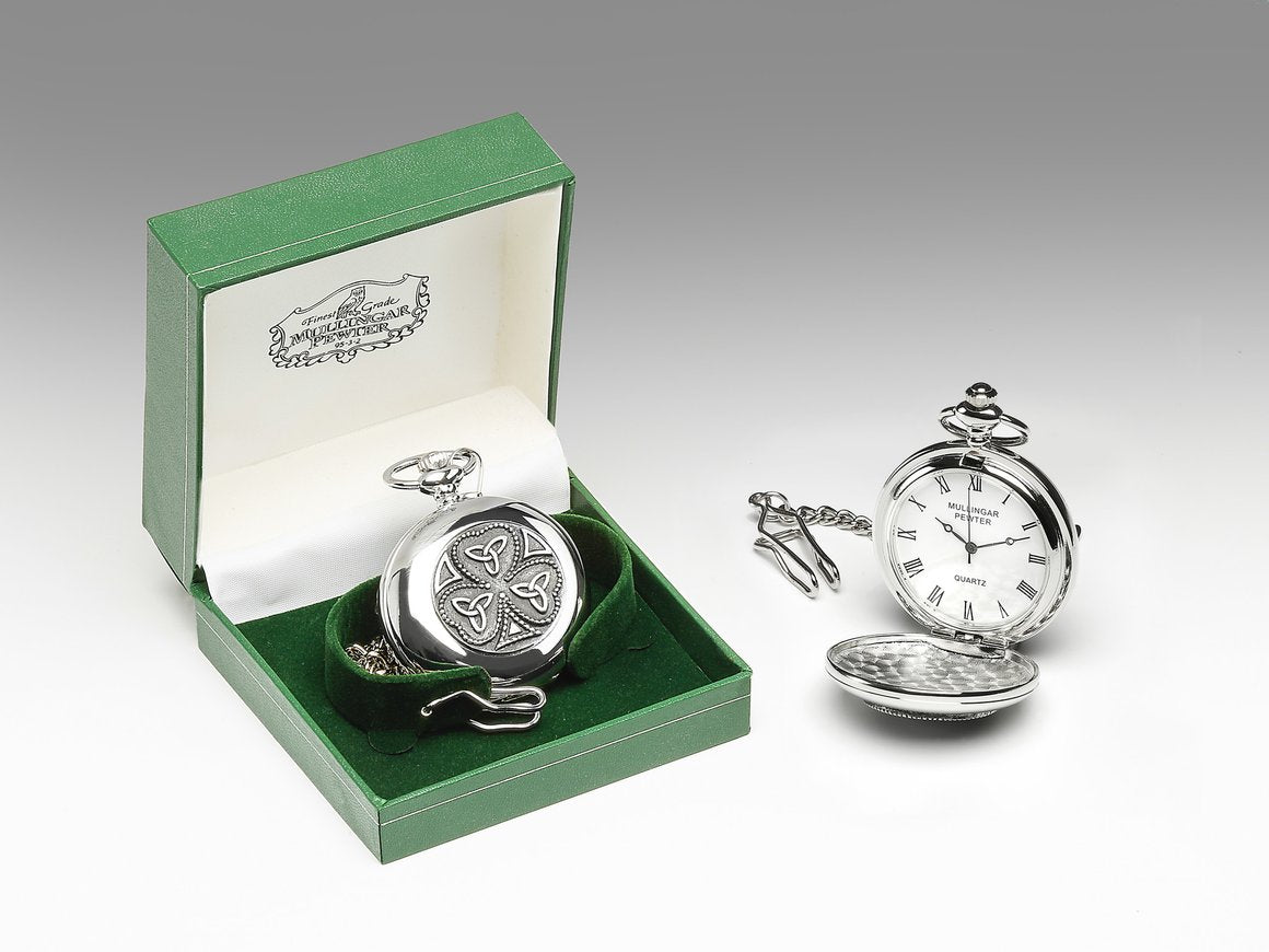 Pocket Watch with Shamrock/Trinity Design by Mullingar Pewter