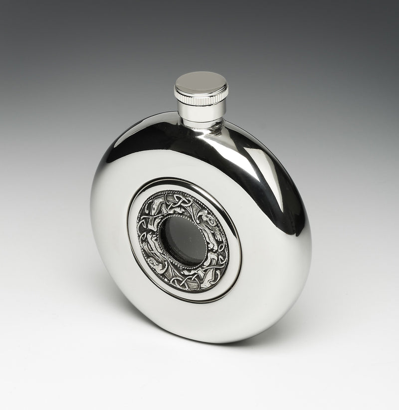 Round Whiskey Hip Flask with Glass Center and Celtic Dogs/Hounds Design