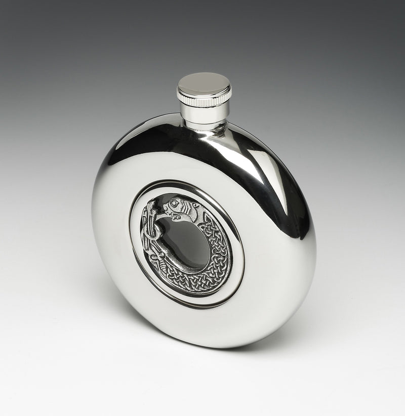 Round Whiskey Hip Flask with Glass Center and St. Mark/Lion Design
