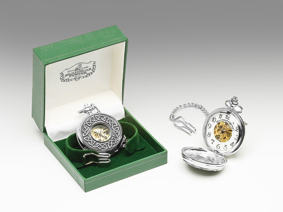 Mechanical Pocket Watch with Celtic Design by Mullingar Pewter