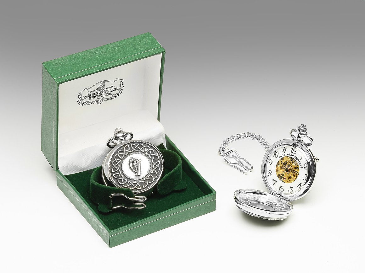 Mechanical Pocket Watch with Harp Design by Mullingar Pewter