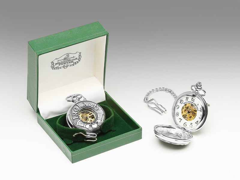 Mechanical Pocket Watch with Claddagh/Ireland Design by Mullingar Pewter
