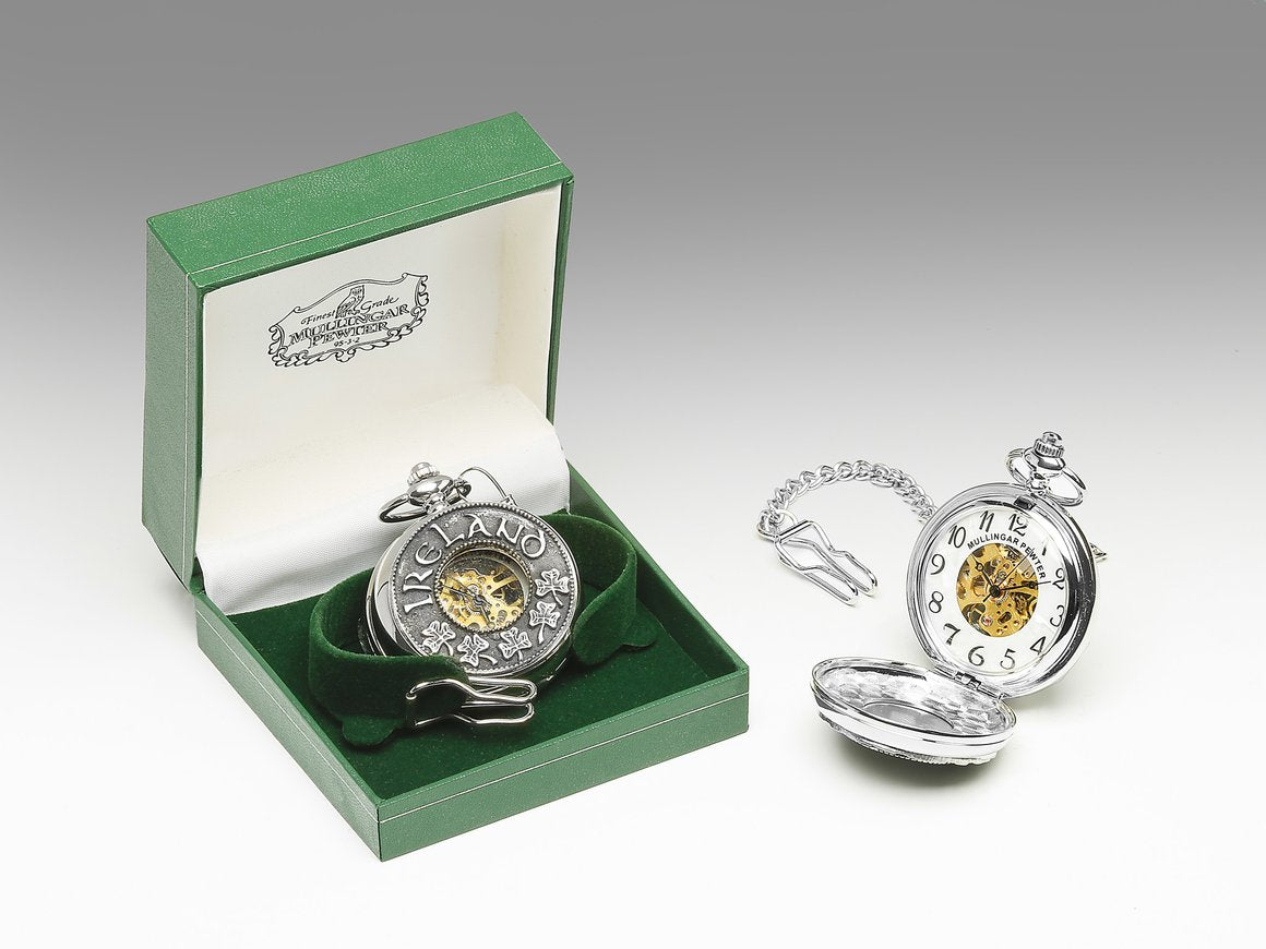Mechanical Pocket Watch with Shamrock/Ireland Design by Mullingar Pewter