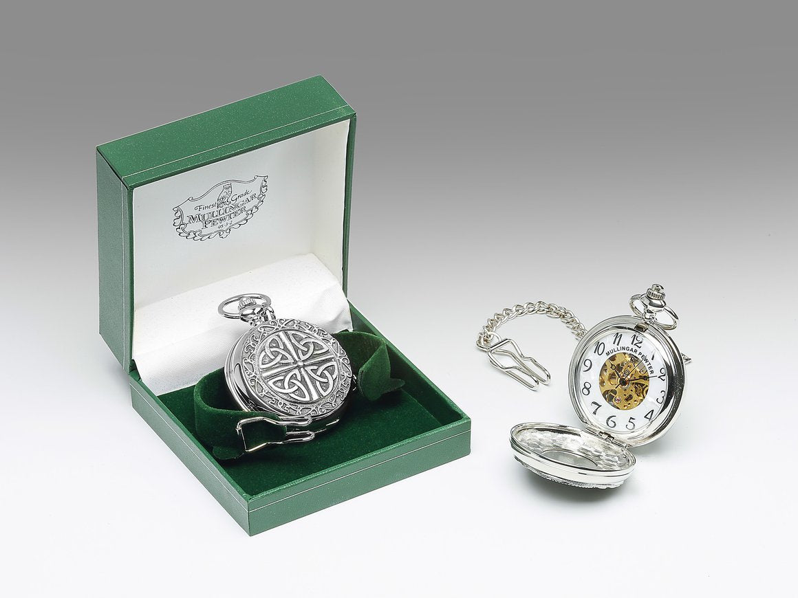 Mechanical Pocket Watch with Multi Trinity Knot Design by Mullingar Pewter