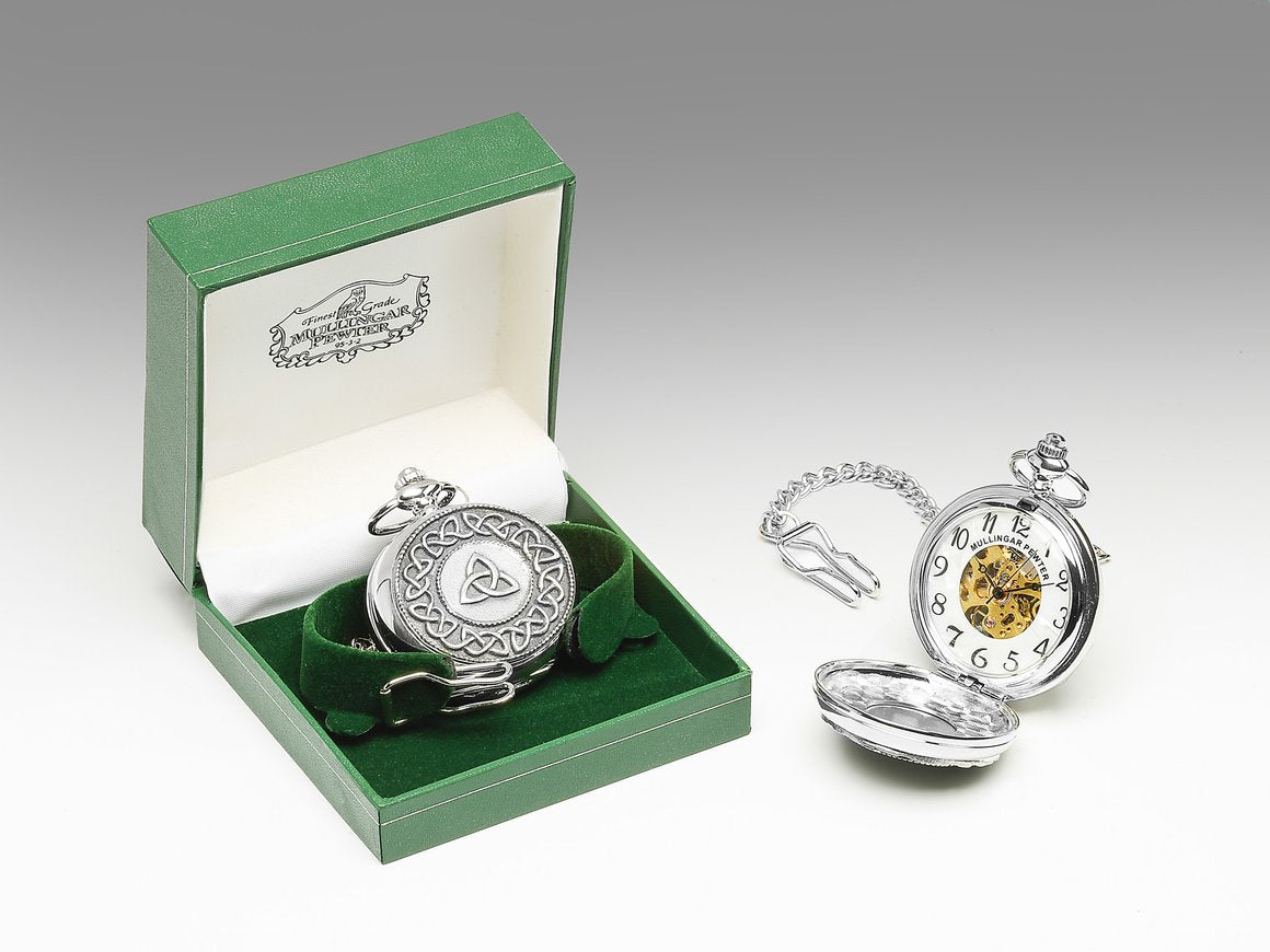 Mechanical Pocket Watch with Trinity Knot Design by Mullingar Pewter